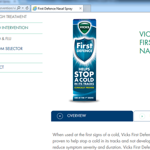 Vicks website making claims of efficacy regarding First Defence