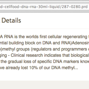 Screenshot of part of the claims made by Cellfood DNA / RNA 30ml liquid