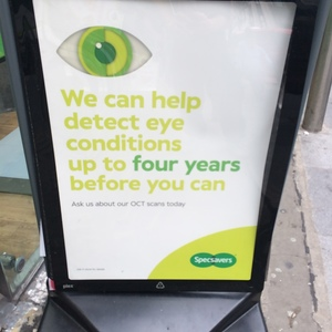 Sign outside specsavers with the claim on